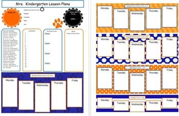 Blue and Orange Lesson Plan Templates