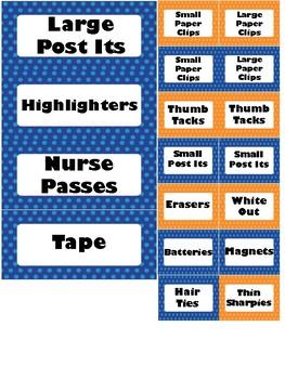 Blue and Orange Polka Dot 39 drawer labels