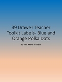 Blue and Orange Polka Dot 39 drawer labels