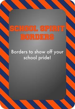 Blue and Orange - School Spirit Borders 9 Pack