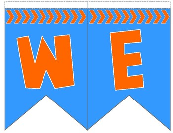 Blue and Orange Welcome Flag Bunting