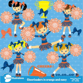 Cheerleader Clipart, Blue and Orange cheerleaders AMB-326