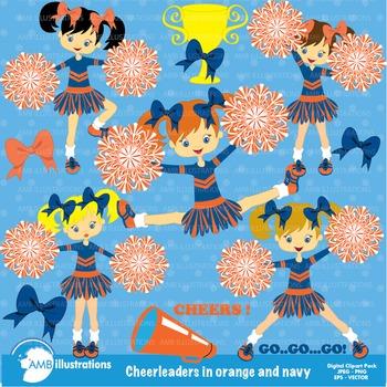 Cheerleader Clipart, Blue and Orange cheerleaders AMB-326