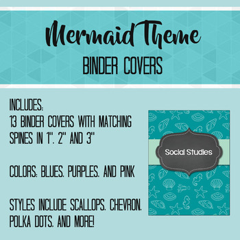 Blue and Purple Mermaid Theme Editable Binder Covers and Spines