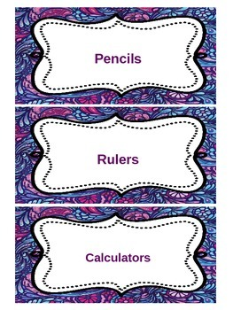 Blue and Purple Paisley Editable Classroom Labels