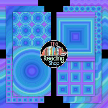 Blue and Purple Stripes Geometric Digital Paper Backgrounds