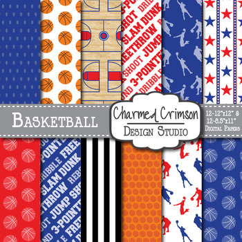 Blue and Red Basketball Digital Paper