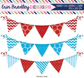 Blue and Red Bunting Clipart