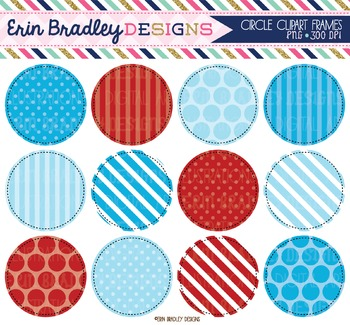 Blue and Red Circle Frame Clipart