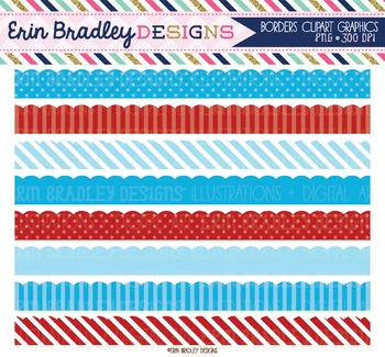 Blue and Red Clipart Borders