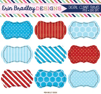 Blue and Red Digital Clipart Labels
