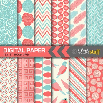 Blue and Red Digital Paper Pack
