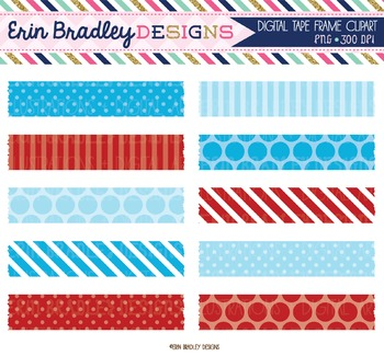 Blue and Red Digital Washi Tape Clipart