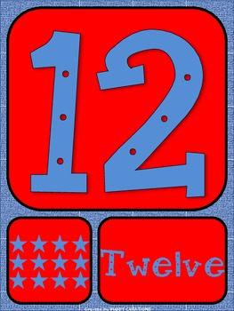Blue and Red Number Posters