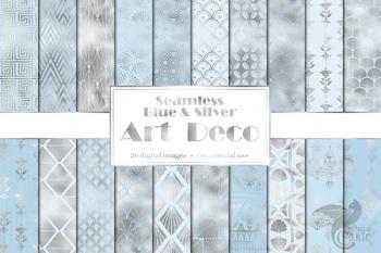 Blue and Silver Art Deco Digital Paper