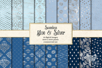 Blue and Silver Digital Paper, seamless silver foil and blue backgrounds
