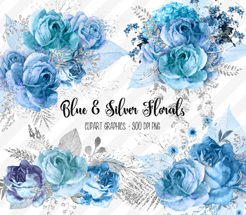 Blue and Silver Floral clipart, glitter blue watercolor roses PNG clip art