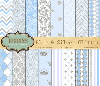 Blue and Silver Glitter Digital Paper Pack