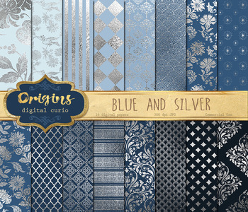 Blue and Silver digital paper, printable scrapbook paper, foil backgrounds