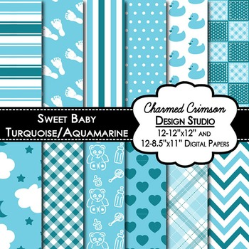 Blue and Teal Baby Digital Paper 1277