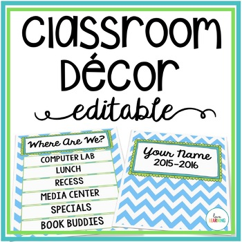 Blue, Green, and Teal Classroom Decor {Editable}