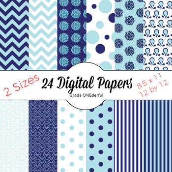 Blue and White Patterned Papers