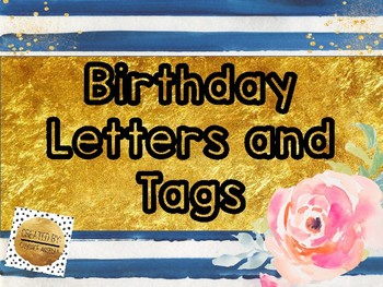 Blue and White Birthday Letters and Labels