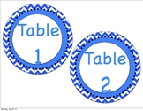 Blue and White Chevron Table Numbers