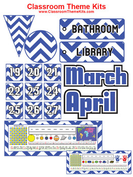 Blue and White Chevron Zig Zag Classroom Theme Kit
