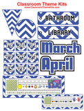 Blue and White Chevron Zig Zag Classroom Theme Kit
