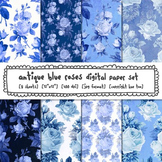 Blue and White Floral Digital Paper, Blue Antique Roses Digital Backgrounds