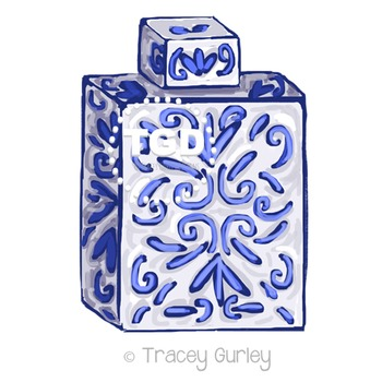 Blue and White Ginger Jar Clip Art Printable Tracey Gurley Designs
