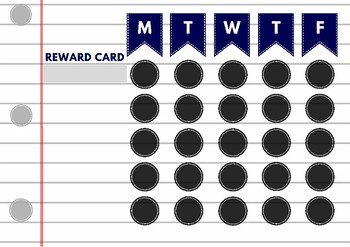 Blue and White Lined Paper Reward Card