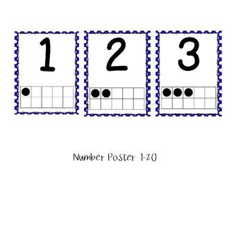 Blue and White Polka Dot Classroom Decor Bundle