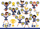 Blue and Yellow Cheerleader Digital Clipart Set