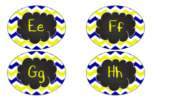 Blue and Yellow Chevron Chalkboard letters and numbers