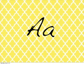 Blue and Yellow Chevron Word Wall