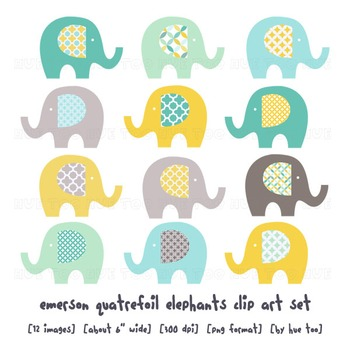 Blue and Yellow Elephant Clip Art, Elephant Images for TpT Sellers