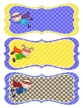 Superhero Name Tags - Blue and Yellow