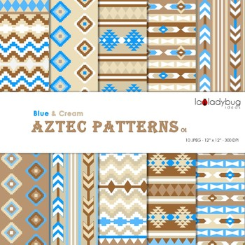Blue and cream Aztec patterns Wallpapers. Tribal digital papers.