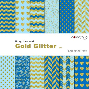 Blue and gold glitter Wallpapers. Golden digital papers. Backgrounds.