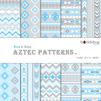 Blue and gray Aztec patterns Wallpapers. Tribal digital papers.