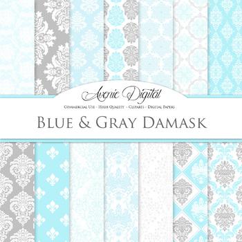 Blue and gray Damask Digital Paper patterns - ornate light blue backgrounds