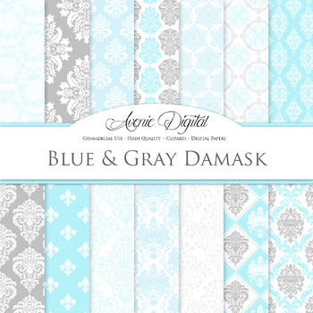 Blue and gray Damask Digital Paper patterns - ornate light blue backgrounds