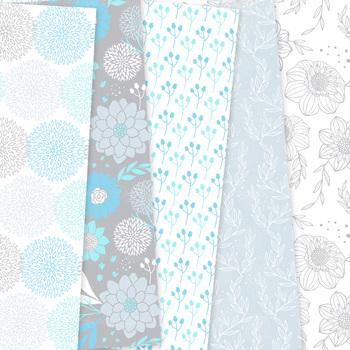 Blue and gray Floral Digital Paper patterns - flower light blue backgrounds