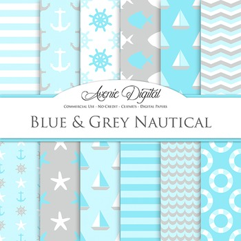 Blue and gray Nautcal Digital Paper patterns - sealing light blue backgrounds