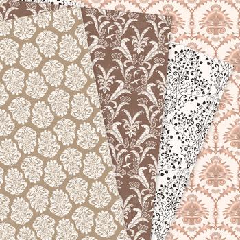 28 Brown Damask Digital Paper patterns - ornate neutral backgrounds