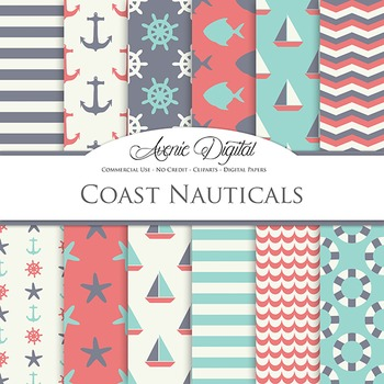 Blue and gray Nautcal Digital Paper patterns - sailing light blue backgrounds