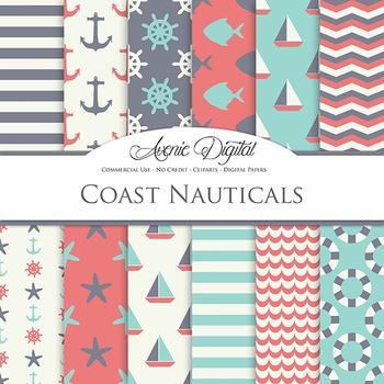Blue and gray Nautcal Digital Paper patterns - sailing lig