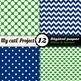 "Blue and green - DIGITAL PAPER - Scrapbooking - A4 & 12x12""- stripes, hearts..."